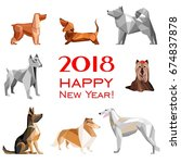 2018 happy new year greeting... | Shutterstock .eps vector #674837878