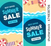 summer sale banner. vector... | Shutterstock .eps vector #674838706