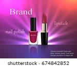 cosmetics  gentle pink nail... | Shutterstock .eps vector #674842852
