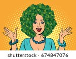 eco woman hair green plants... | Shutterstock . vector #674847076