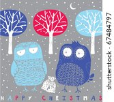 two owls and  tree | Shutterstock .eps vector #67484797