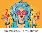 young woman music notes instead ... | Shutterstock . vector #674848492