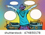 dj party vinyl panel  view from ... | Shutterstock . vector #674850178