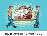 bandaged bear on the brain... | Shutterstock . vector #674854306