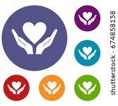 hands holding heart icons set... | Shutterstock .eps vector #674858158