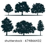 tree silhouettes   red maple ... | Shutterstock . vector #674866432