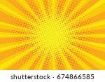 yellow orange sun pop art retro ... | Shutterstock . vector #674866585
