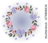 vector flowers beautiful wreath.... | Shutterstock .eps vector #674868616