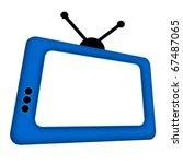 Blue Comic Retro Tv With...