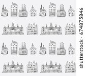 barcelona spain city doodle... | Shutterstock .eps vector #674875846