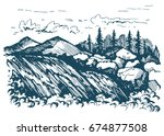 mountains river. america.... | Shutterstock .eps vector #674877508