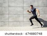 sport man starts to run. leap...   Shutterstock . vector #674880748