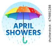 colored realistic umbrella.... | Shutterstock .eps vector #674881288