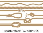 rope brushes with different... | Shutterstock . vector #674884015