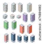 set of modern isometric... | Shutterstock .eps vector #674884882
