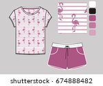 t shirt and short set printed... | Shutterstock .eps vector #674888482