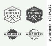 set of vintage carpentry ... | Shutterstock .eps vector #674891692