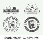 set of vintage laundry ... | Shutterstock .eps vector #674891695