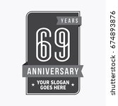 69 years anniversary design...   Shutterstock .eps vector #674893876
