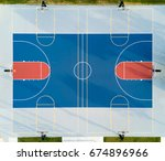 aerial view of a basketball...   Shutterstock . vector #674896966