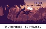 vector panorama of india with... | Shutterstock .eps vector #674903662