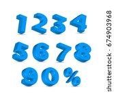 set of 3d numer blue | Shutterstock .eps vector #674903968