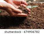 hands of farmer growing and... | Shutterstock . vector #674906782