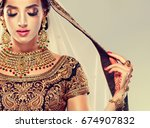 portrait of beautiful indian... | Shutterstock . vector #674907832