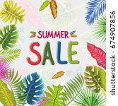 tropical summer pattern with... | Shutterstock .eps vector #674907856
