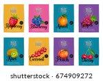 raspberries  blueberry  apricot ... | Shutterstock .eps vector #674909272