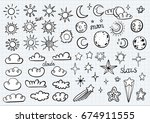 weather symbols | Shutterstock .eps vector #674911555