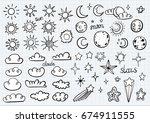 weather symbols | Shutterstock .eps vector #674911555