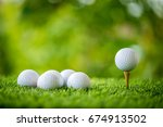 Golf Ball On Tee Ready To...