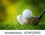 teeing off with golf club and... | Shutterstock . vector #674913592