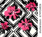 floral hand painted expressive... | Shutterstock .eps vector #674916826