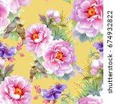 bright beautiful watercolor... | Shutterstock . vector #674932822