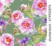 bright beautiful watercolor... | Shutterstock . vector #674932876