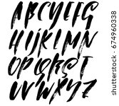 hand drawn dry brush font.... | Shutterstock .eps vector #674960338