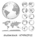 globes showing earth with all... | Shutterstock .eps vector #674962912