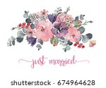 watercolor floral illustration  ... | Shutterstock . vector #674964628