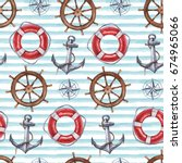 seamless watercolor nautical... | Shutterstock . vector #674965066