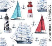 seamless watercolor nautical... | Shutterstock . vector #674965102