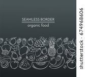 seamless borders with hand... | Shutterstock .eps vector #674968606