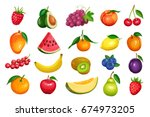 raspberries  strawberries ... | Shutterstock .eps vector #674973205