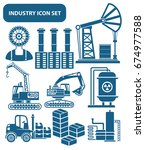 industry icon set clean vector | Shutterstock .eps vector #674977588