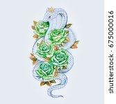 sketch of snake cobra with... | Shutterstock . vector #675000016