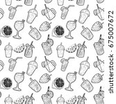 seamless pattern with cocktails ... | Shutterstock .eps vector #675007672