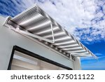 Small photo of Canvas awning with a sky background