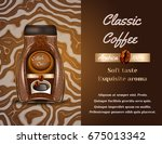 coffee products ad. vector 3d... | Shutterstock .eps vector #675013342