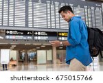 asian traveler using the smart... | Shutterstock . vector #675015766